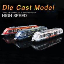 Diecast de alta velocidade trem ferroviário modelo de brinquedo liga simulação carro miniatura veículos metrô metal brinquedos educativos para crianças presente