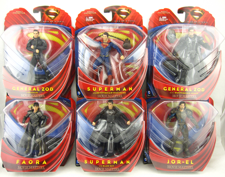 6pcs Super Hero <font><b>Superman</b></font> <font><b>Man</b></font> <font><b>of</b></font> <font><b>Steel</b></font> <font><b>Movie</b></font> <font><b>Masters</b></font> Kryptonian Key Black Suit <font><b>General</b></font> <font><b>Zod</b></font> Faora Jor-el Action Figure