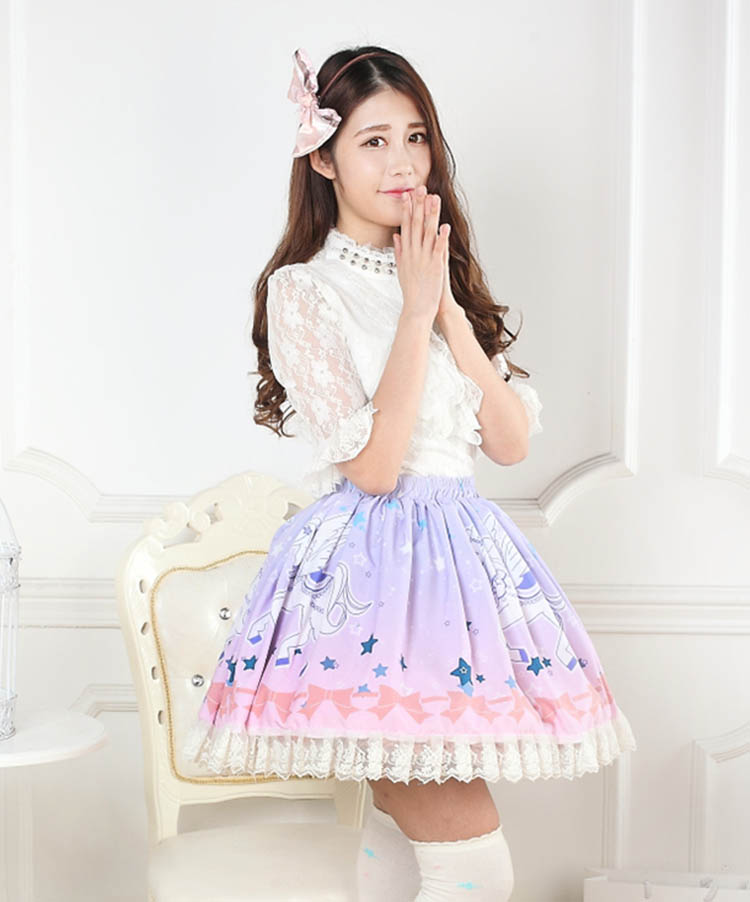 Sweet Ombre Pink Unicorn Printed Lace Lady s Lolita Skirt Free Shipping