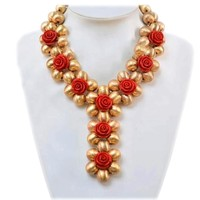 Splendid Dubai Jewelry Sets With Red Flowers Women Indian Necklace Set Heart Wedding Jewelry Set Bridal Jewelry