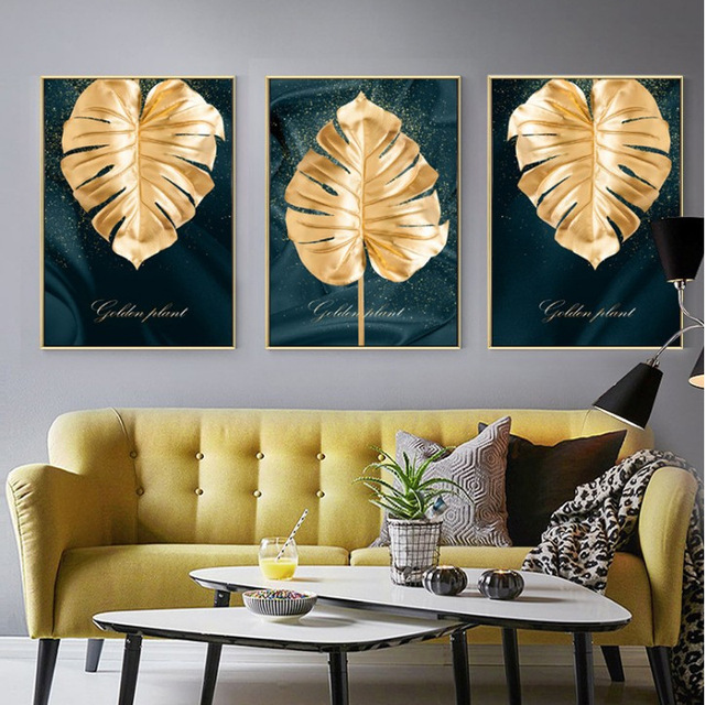 Nordic style decorative painting Simple modern INS living room painting restaurant Golden leaves murals Hotel Abstract plant