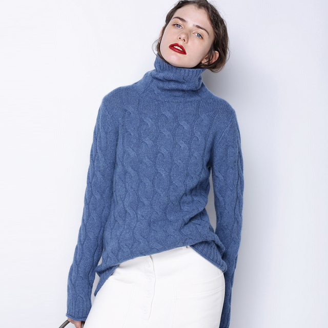 Women's Fall Winter Long Thick Denim Blue Grey Cashmere Sweater ...