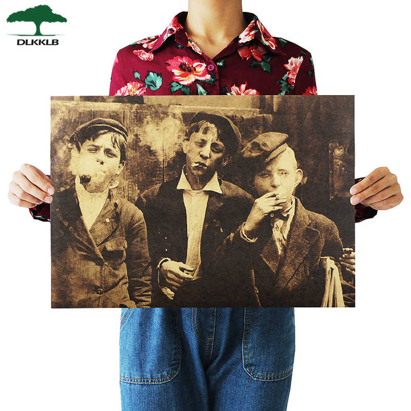 Dlkklb American Newsboy Nostalgic Retro Kraft Paper Poster Bar Coffee Bar Decorative Painting Wall Sticker 51.5x36cm Home Decor