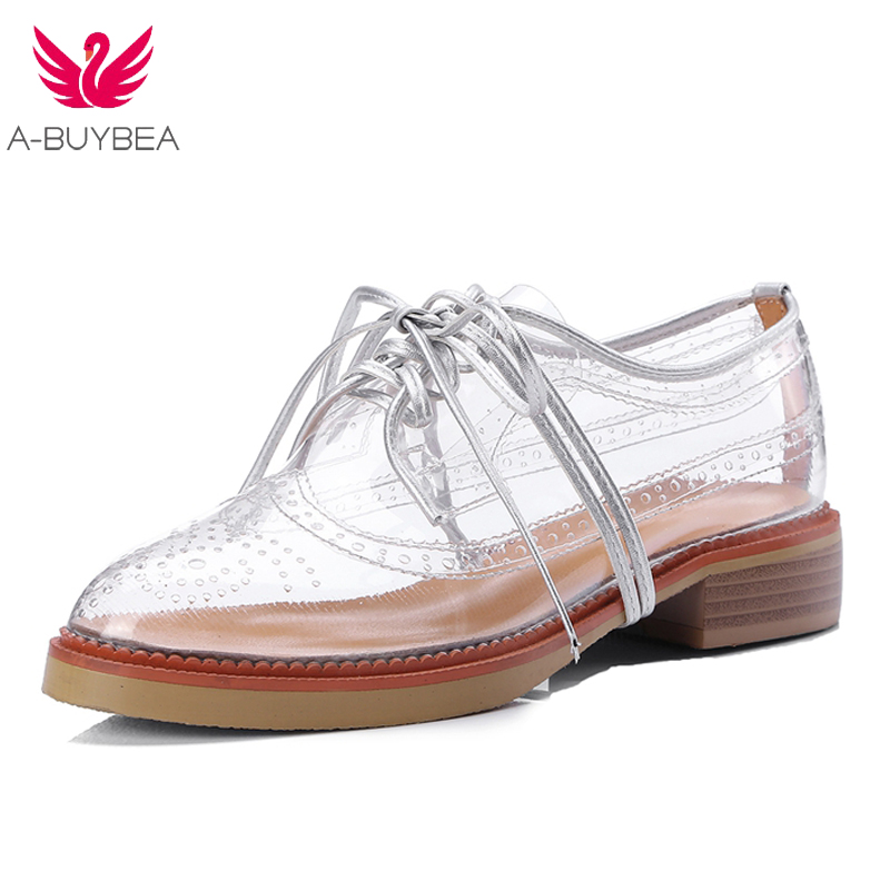 2018 New Lace Up Hole Out Well-known Model Oxfords Footwear Clear Spherical Toe Girls Brogue Girls Breathable Giant British Fashion footwear clear, spherical toe, footwear girl footwear ladies,Low cost...