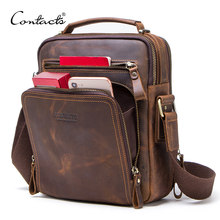 CONTACT'S crazy horse leather men's shoulder bag vintage messenger bags men bolsos male crossbody bags man's handbag sling bag(China)