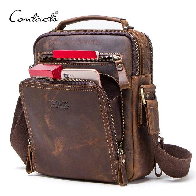 CONTACT S crazy horse leather men s shoulder bag vintage messenger bags men bolsos male crossbody
