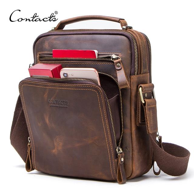 CONTACT'S sacos de ombro dos homens de couro de cavalo louco saco do mensageiro do vintage dos homens sacos crossbody bolsos masculinos do homem bolsa sling saco