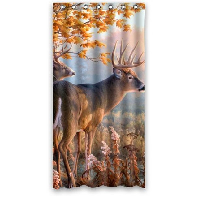 Oil Painting Sunset Deer Autumn Tree Fall River Buck Animal Shower Curtain Waterproof Bath Hook Attached 36w72h Inch