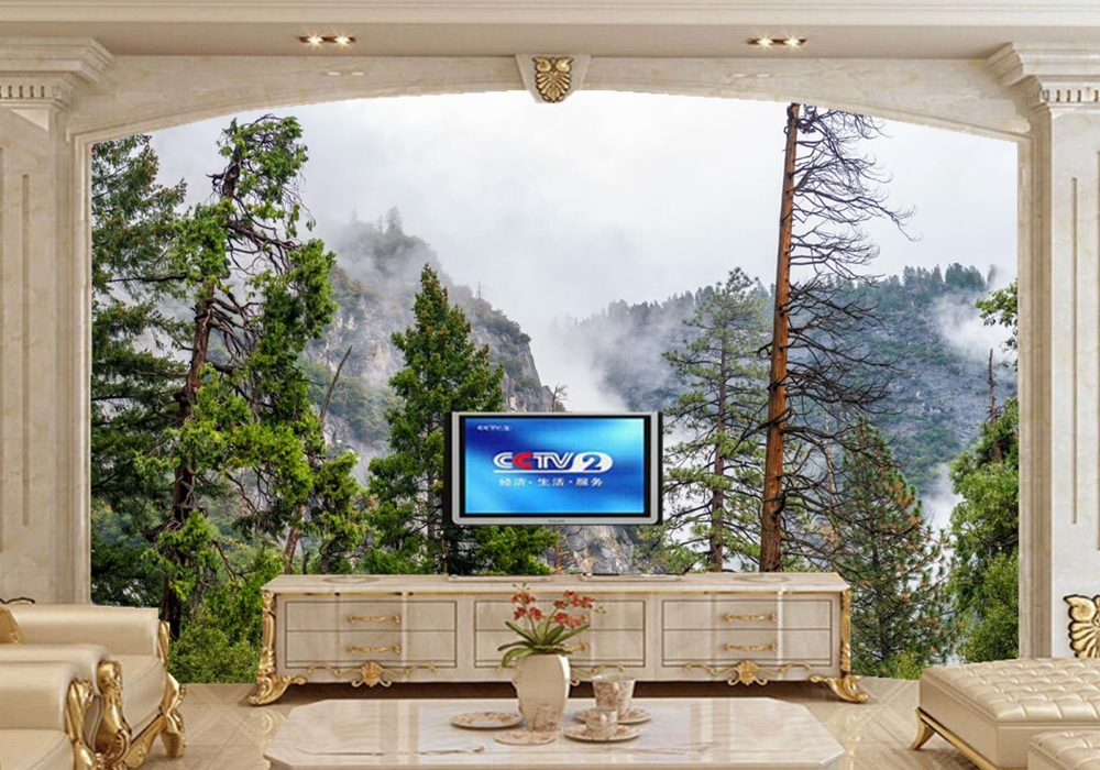 Parks Mountains Fir Fog Trees Nature photo 3d wallpaper ,living room TV background sofa wall bedroom kitchen restaurant mural flame trees of thika