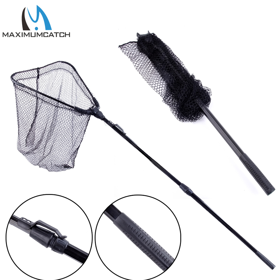 Maximumcatch new folding fly fishing landing net with for Telescoping fishing net