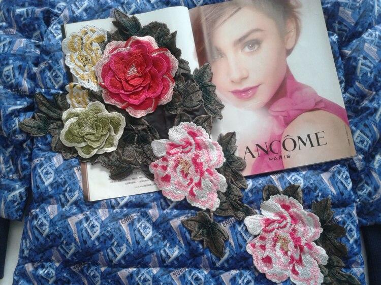 cf24e976dd 56 26 cm super grande bordado DIY encaje flores Appliques elegante 3D  multicolor Rosa coser en parches lady vestido largo y DIY