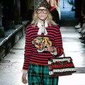 Mujeres Tiger Head Bordado de Rayas Jersey de Punto Suéteres Jumpers Tops de Pasarela de Moda Retro de La Vendimia de Buena Calidad Real Fotos
