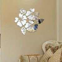 2020 Flower Pattern Wall Sticker Home Decor 3D Wall Decal Art DIY Mirror Wall Stickers Living Room Decoration Silver/Gold jan3
