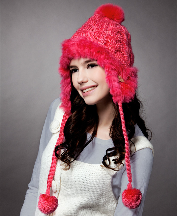 New Winter Women Lady Girl Wool Rabbit Hair Fur Earflap Warm Hats Hand Knit Beanie Cap For Valentines Gift 1018 100 pcs dc12v shg coil dpdt 8 pin 2no 2nc mini power relays pcb type hk19f yellow