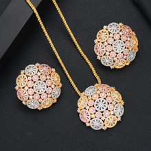 SISCATHY Fashion Long Chain Cubic Zirconia Flower Pendant Necklace Stud Earrings Jewelry Set Bridal Wedding Party Jewelry Gifts цена и фото