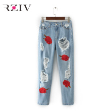RZIV 2017 female casual pure color flowers embroidered holes jeans