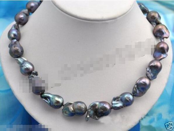 Offre spéciale nouveau Style>>>>> véritable 15-23mm énorme collier de perles Baroque noir Keshi KEISHI 14KGP GP 18