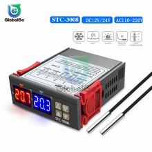цена на STC-3008 LED Dual Digital Display Temperature Controller 12V 24V 110-220V Thermostat For Incubator Relay