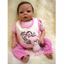 Rooted Mohair 20 Inch Realistic Reborn Girl Baby Cloth Body Silicone Newborn Princess Babies Toy With Pink Clothes Kids Playmate