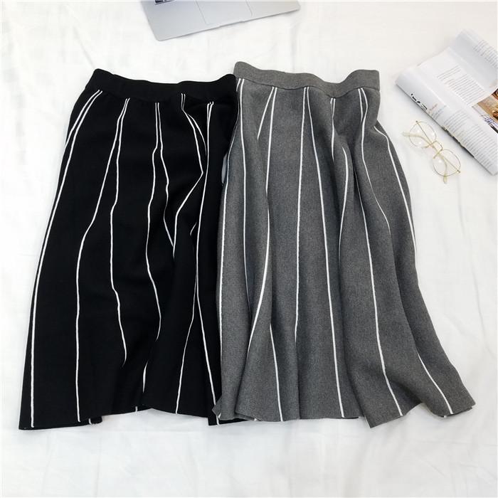 HTB1nI0UOVXXXXcAXFXXq6xXFXXXe - FREE SHIPPING Womens Skirt Vintage  Line Striped Slim High Waist Knitted Long Black Grey JKP248