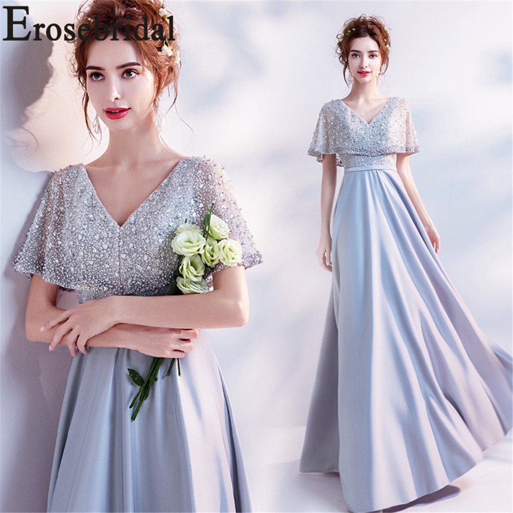 Erosebridal 2019 New Long Evening Dress Formal Women Prom Party Gown Satain Beaded Bodice Dresses A Line with Belt