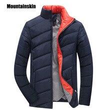 Mountainskin 2017 herren Winter Jacke 5XL Koreanische Art Slim Fit Fashion Stehkragen Oberbekleidung männer Mantel Marke kleidung EDA112