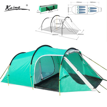 210T polyester waterproof tunnel camping tent for 3-4persons one bedroom & one living room double layer family and party tent 2015 new style high quality double layer untralarge one hall one bedroom family party camping tent