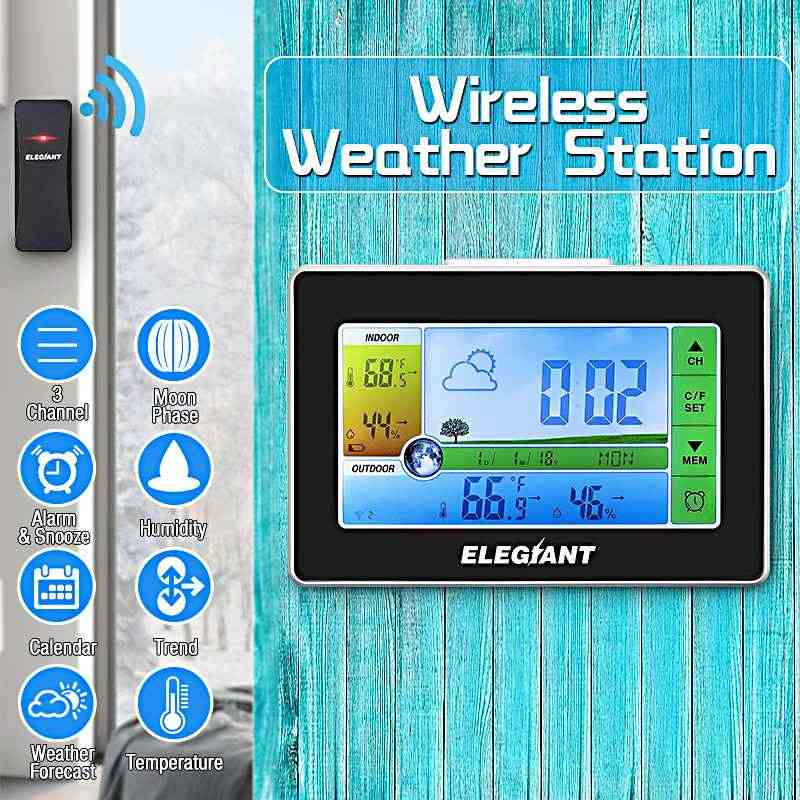 Elegiant EOX-9908 Sentuh Indoor Outdoor Weather Station Kalender Jam Alarm Nirkabel Sensor Cuaca Thermometer Hygrometer
