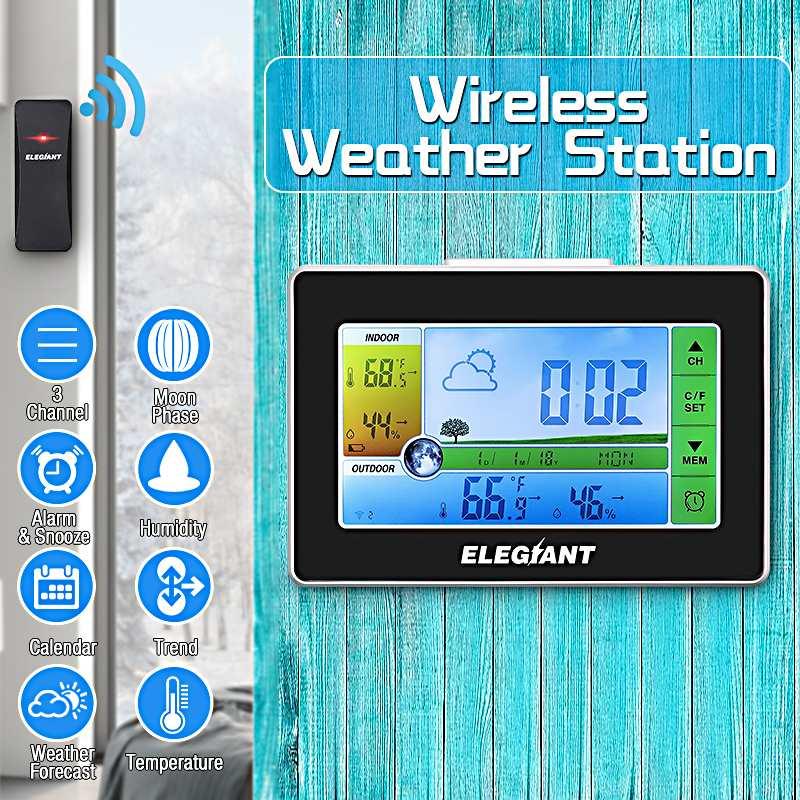 ELEGIANT EOX-9908 Toque Indoor Outdoor Estação Meteorológica Relógio Despertador Calendário Termômetro Higrômetro Previsão de Sensores Sem Fio