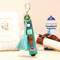Charm leather Tassel Pendant keychain alloy bag Key ring Holder for women fashion alloy bag door car key ring holder jewelrys