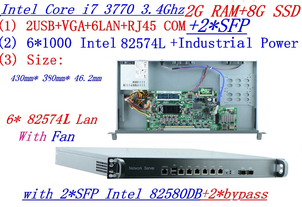 Industrial Software Routing 1U Server With 8 Ports Gigabit Lan Intel Core I7 3770 3.4G 2G RAM 8G SSD Mikrotik PFSense ROS Etc