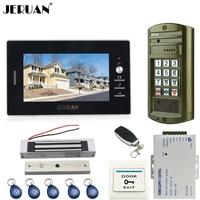 JERUAN NIEUWE 7 ''LCD video deurbel intercom systeem kit Metalen panel waterdichte Toegang wachtwoord toetsenbord HD Mini Camera + magnetische lock