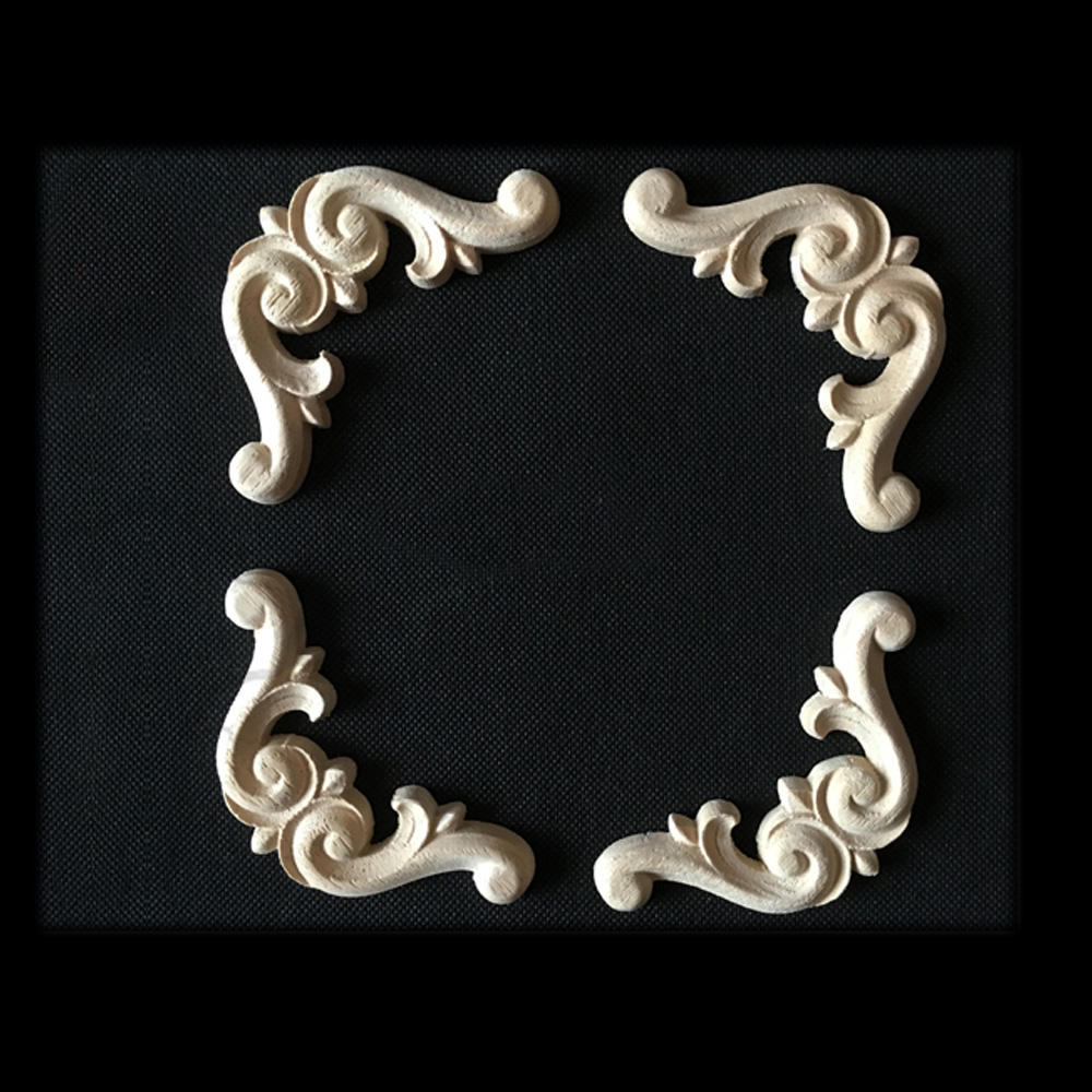 Kitchen Cabinet Appliques: 8cm Wood Appliques For Kitchen Cabinets Carving Decal Wood