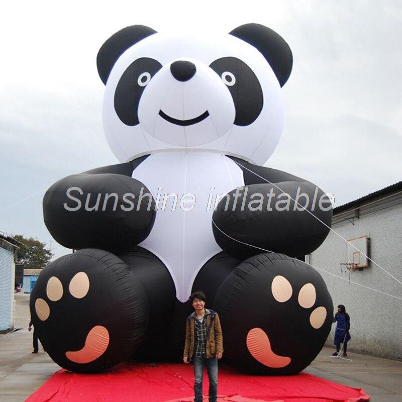 Personalizado 8mH gran panda modelo lindo blanco y negro gigante panda de dibujos animados oso mascota para la publicidad