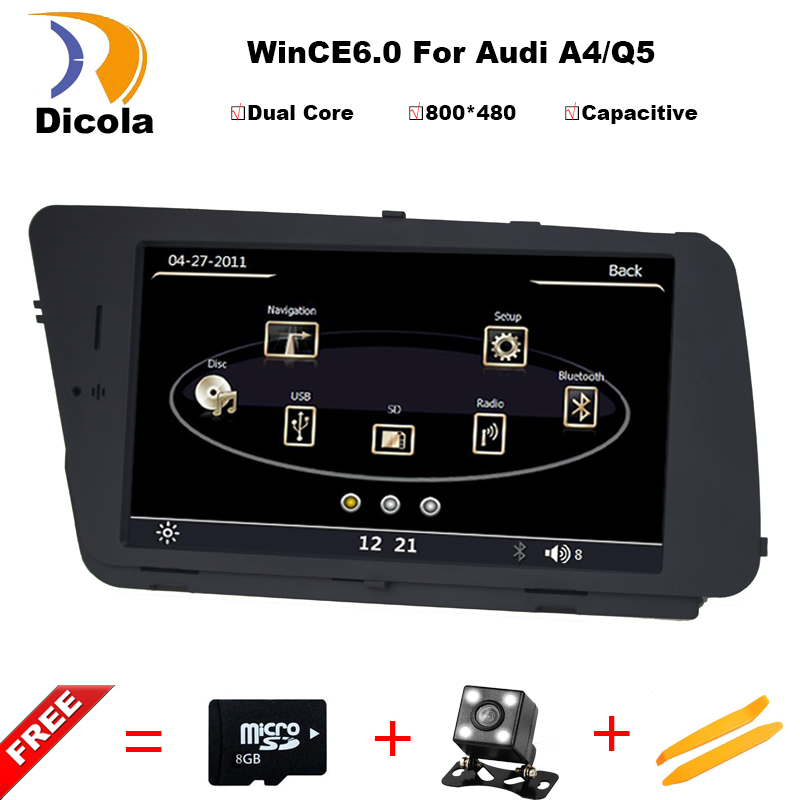 For Audi A4 A4L Q5 2009 2013 Car DVD Navigation Multimedia Bluetooth Monitor MP3 USB SD Aux In IPod DVR Rearview Steering wheel