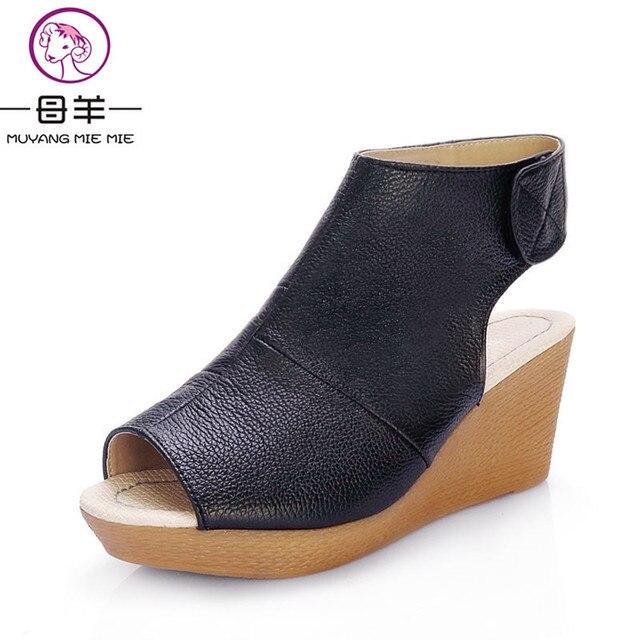 1234a938773c MUYANG китайский бренд летняя обувь с открытым носком женская обувь из натуральной  кожи клин Босоножки