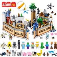 Шт. 4385 шт. дизайнерские строительные блоки комплект Совместимость LegoINGLYS Minecrafted большой волшебный замок техника Модель Кирпичи Детские игру