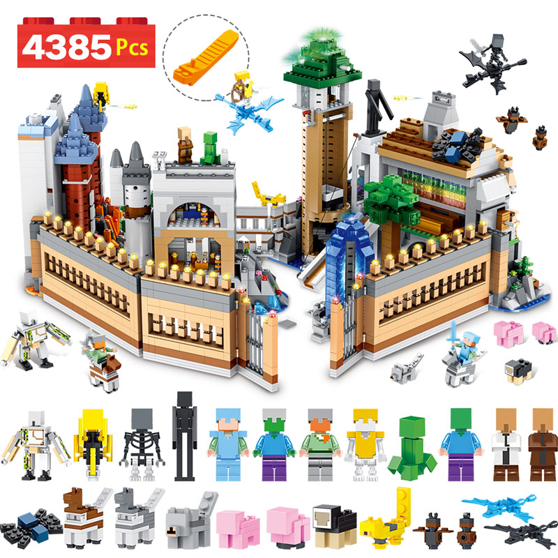 все цены на 4385PCS Designer Building Blocks Kit Compatible LegoINGLYS Minecrafted Large Magic Castle Technic Model Bricks Children Toys
