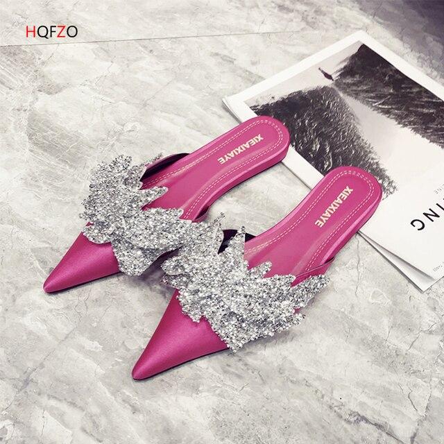 HQFZO модные шикарные шлёпанцы для женщин женские сабо слипоны сандалии на плоской подошве черный женская обувь Острый носок Chanclas сланцы Zapatos