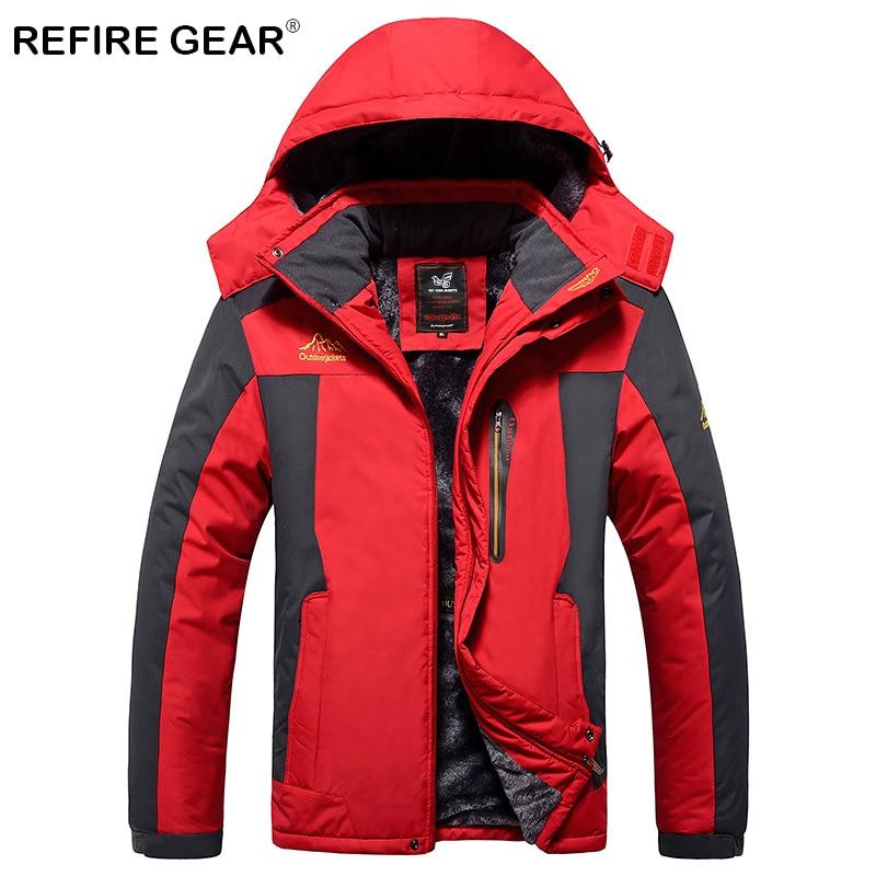 цена на ReFire Gear Winter Outdoor Camping Windbreaker Jackets Men Waterproof Windproof Wool Hiking Sport Jacket Male Warm Hunting Coats