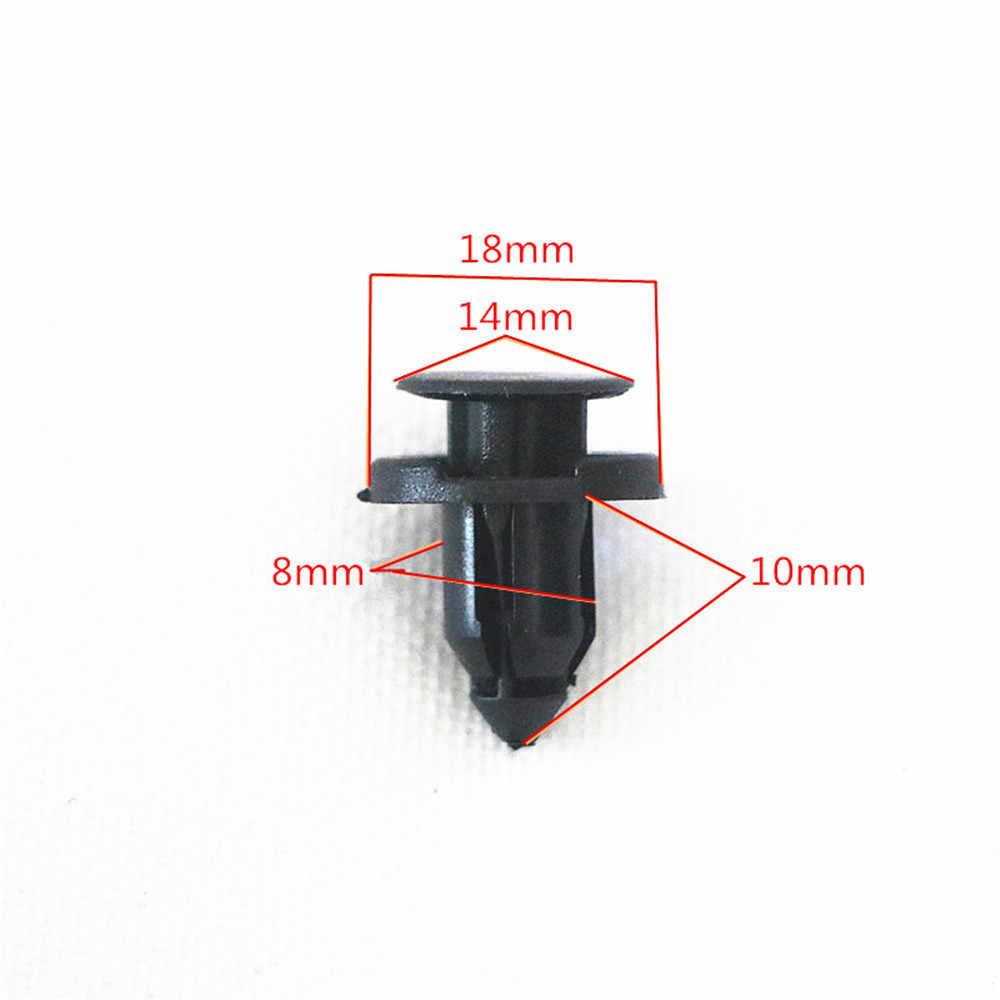 50 adet çapı 8mm siyah plastik oto bağlantı elemanları perçinler klipler araç araba tampon kapı paneli çamurluk astar klipsleri