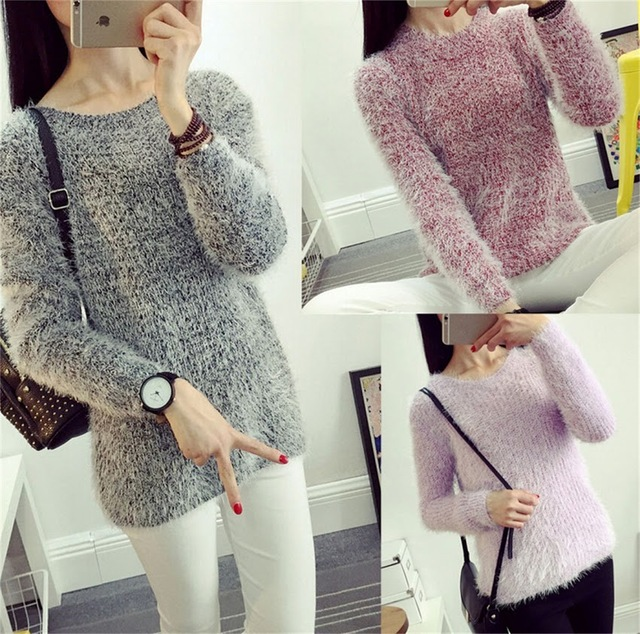 Women Handmade Mohair Blend Fuzzy Womens Pullover Knit Jumper Knitwear sweater  Long Sleeve soft Sweater