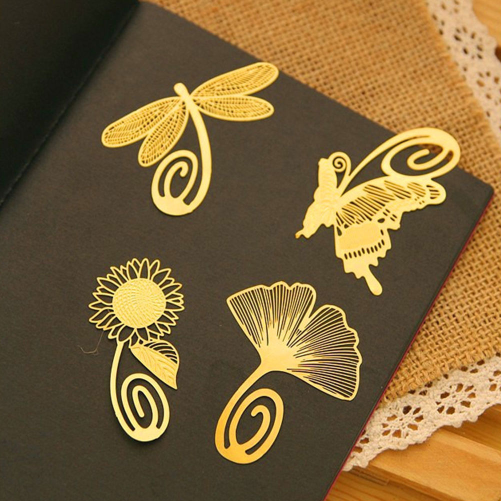 Cute Metal Bookmark Beautiful Gold Copper Plants Butterfly Dragonfly Animal Bookmark Kids Stationery Gift