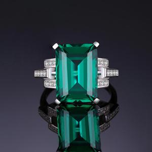 Image 2 - JewelryPalace 5.9ct Created Nano Emerald Ring 925 Sterling Silver Rings for Women Engagement Ring Silver 925 Gemstones Jewelry