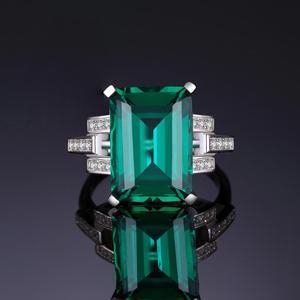 Image 2 - JewelryPalace 5.9ct Creato Nano Smeraldo Anello In Argento Sterling 925 Anelli per Le Donne Anello di Fidanzamento In Argento 925 Pietre Preziose Gioielli