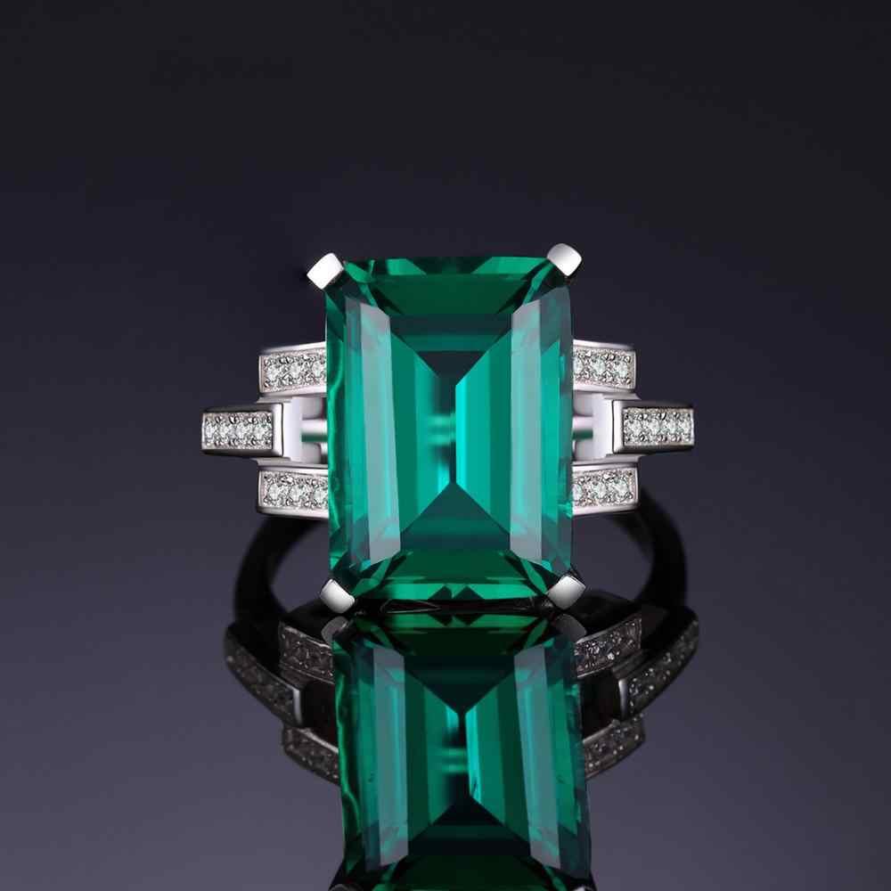 JewelryPalace 5.9ct Erstellt Nano Smaragd Ring 925 Sterling Silber Ringe für Frauen Engagement Ring Silber 925 Edelsteine Schmuck