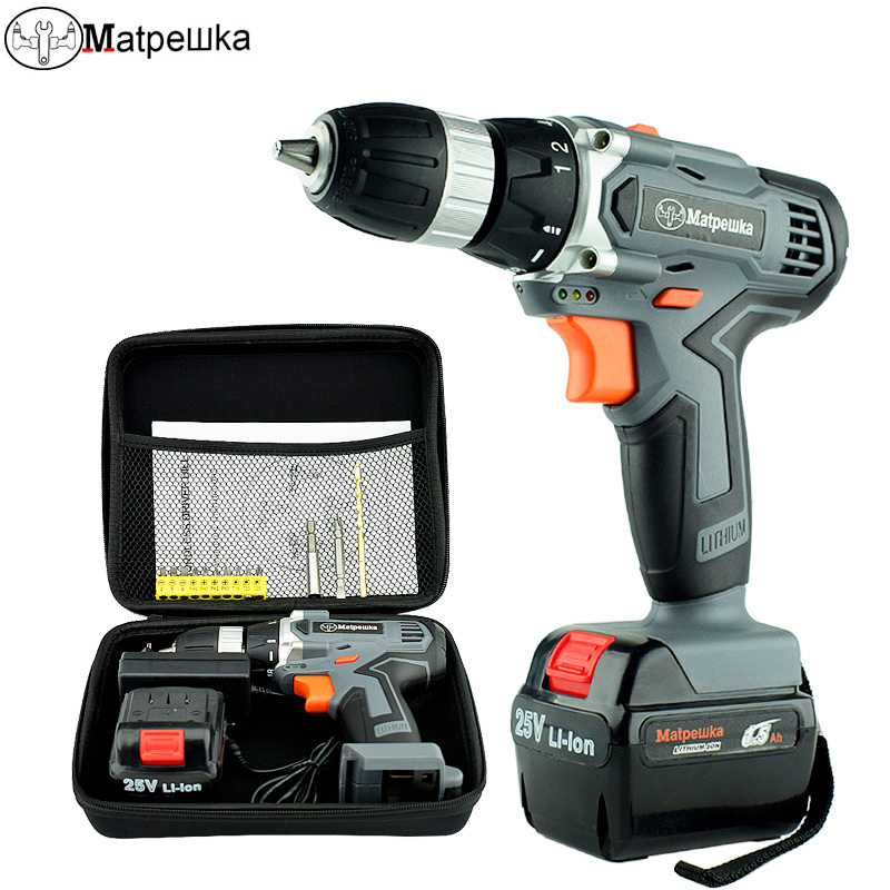 25V Cordless Electric Screwdriver Household Power Tools Handheld Lithium Battery Electric Drill 1 Battery + 1bag+13Gift 25v cordless electric drill lithium battery cordless screwdriver double speed electric screwdriver household electric tools