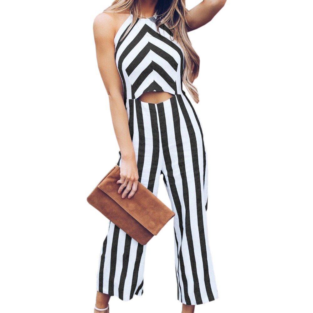Hollow Out Halter Backless Jumpsuits Women Summer Romper Femme Sleeveless Beach Striped Overalls Wide Leg Pants Plus Size GV121