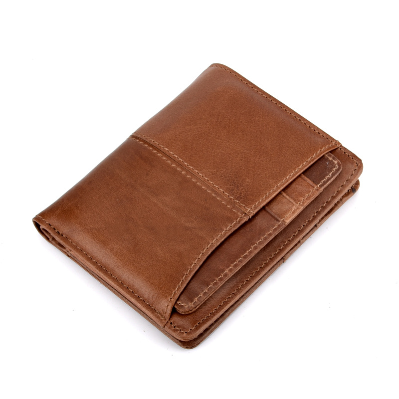 New Luxury Vintage Casual 100% Real Genuine Cowhide Oil Wax Leather Men Short Bifold Wallet Wallets Purse Coin Pocket Male