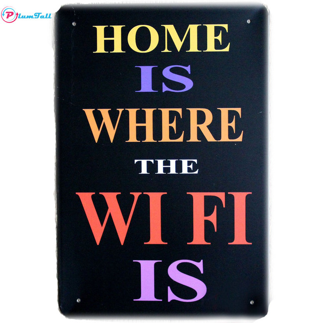 Home Wifi Quote Metal Signs Kitchen Pub Cafe Wall Art Decorative ...